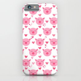 Cute Pink Piggy Faces Pig Pattern iPhone Case