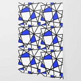 Geometric Modern triangles - white blue Wallpaper