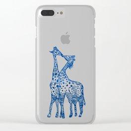 Giraffes kiss art Clear iPhone Case