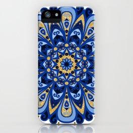 Ocean Blues & Golden Beach Sand Mandala iPhone Case