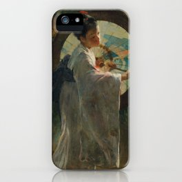 Pieter de Josselin de Jong - Japanese Girl with a Wagasa - Dutch Victorian Retro Vintage Oil Paintin iPhone Case