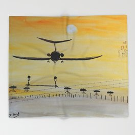 Yellow last flight Throw Blanket