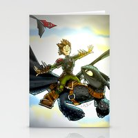 hiccup Stationery Cards featuring Hiccup & Toothless Flight by Chris Thompson, ThompsonArts.com