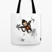 borderlands Tote Bags featuring Borderlands 2 - Chibi Gunzy! by Emme Gray