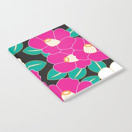 Japanese Style Camellia - Pink and Black Notebook