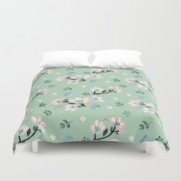 Be who you want to be - pastel flowers in mint Duvet Cover