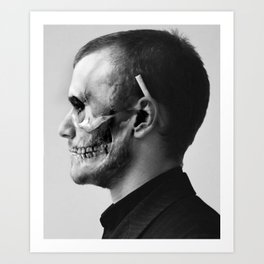 Skull Double Exposure Art Print