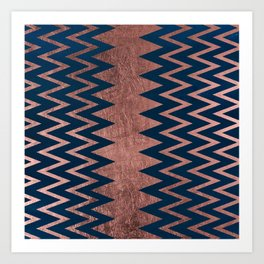 Navy blue faux rose gold watercolor geometric chevron Art Print