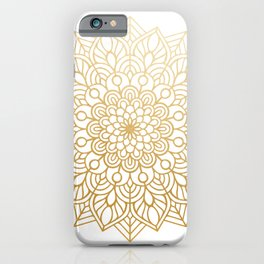 Beautiful White & Gold Mandala Pattern iPhone Case