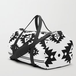Black Aztec Tribal Diamonds Duffle Bag