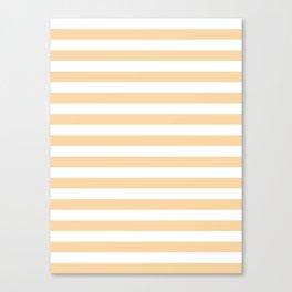 Narrow Horizontal Stripes - White and Sunset Orange Canvas Print