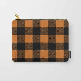 Orange and Black Buffalo Plaid Carry-All Pouch