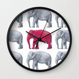 Elephants Red Wall Clock