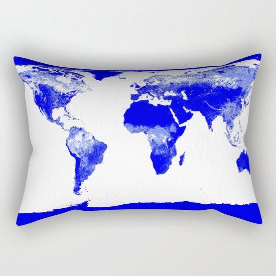 World map Blue Rectangular Pillow
