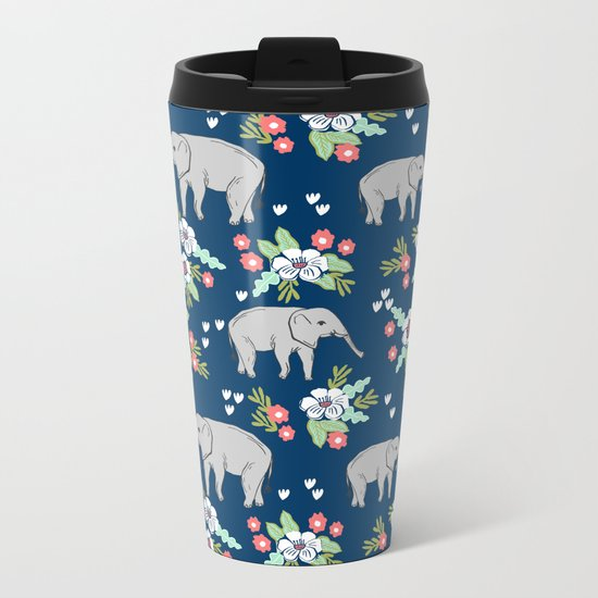 Elephants pattern navy blue with florals cute nursery baby animals lucky gifts Metal Travel Mug