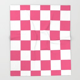 Large Checkered - White and Dark Pink Throw Blanket