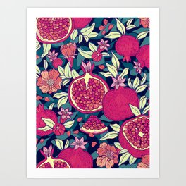 Bold Colorful Red Pomegranates Green Leaves Graphic Design Art Print