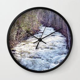 White Water in the Forest Wall Clock