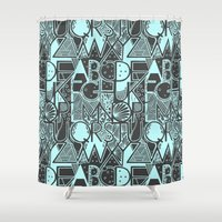 alphabet Shower Curtains featuring Alphabet by Clare Corfield Carr