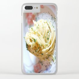 Spaghetti with parsley, ginger and garlic. Clear iPhone Case