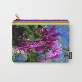 Purple French Hollyhock Flowers Art Design Carry-All Pouch