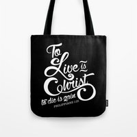 verse Tote Bags featuring Typographic Verse by Ruthie Designs