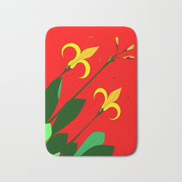 Vintage Flower with Red background Bath Mat