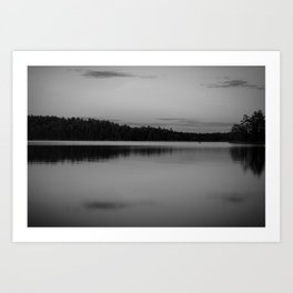 Black and White Sunset on Little Loon Art Print