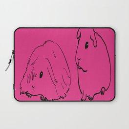 Guinea Pigs - American and Silkie With Hot Pink Background Laptop Sleeve