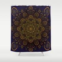 clockwork Shower Curtains featuring Clockwork Compass by Orison Crafts