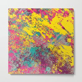 Abstract TexTure Uno - Pink, Purple, Blue And Yellow Metal Print