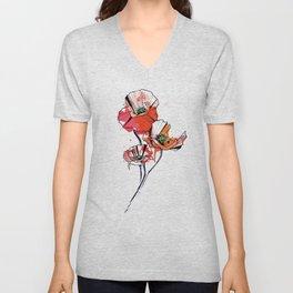 Geometric Watercolor Poppies Unisex V-Neck