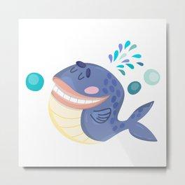 Cute Blue Whale  Metal Print