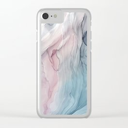 Calming Pastel Flow- Blush, grey and blue Clear iPhone Case