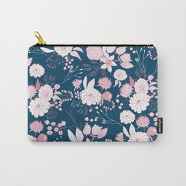 Elegant mauve pink white navy blue rustic floral Carry-All Pouch