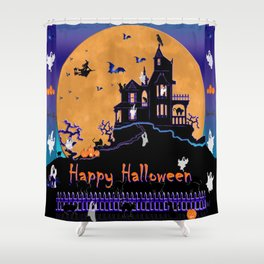 Halloween Haunted House Shower Curtain