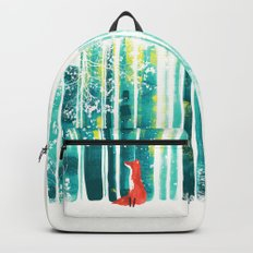 Fox in quiet forest Backpacks