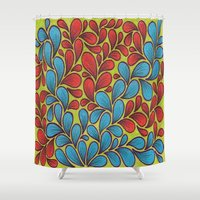 good vibes Shower Curtains featuring Good Vibes by Sarah J Bierman