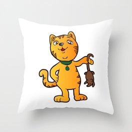 cartoon cat with mouse Throw Pillow