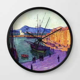 Port Scene of Saint-Tropez, France, Evening Effect by Francis Picabia Wall Clock