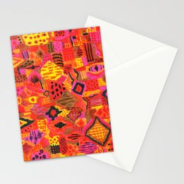 Boho Patchwork in Warm Tones Stationery Cards