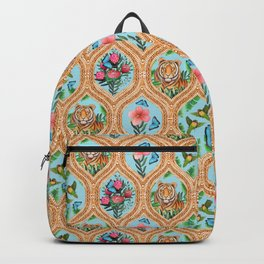 Tiger , protea, hibiscus, palm ogee pattern in watercolor Backpack