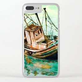 Boat on Seashore Clear iPhone Case