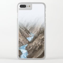 Mountain blue river Clear iPhone Case