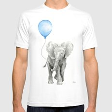 Baby Animal Elephant Watercolor Blue Balloon Baby Boy Nursery Room Decor White Mens Fitted Tee MEDIUM