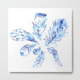 ethnic glamor sparkle modern feathers Metal Print