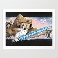 jedi Art Prints featuring Jedi Corgi by Jacque Oman Clinton