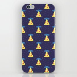 Abstract futuristic print with flying saucers, rays of light with pizza. iPhone Skin