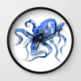 Navy Blue Octopus Artwork Wall Clock