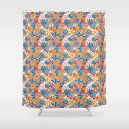 Yellow Flower Meadow– Blue Bell – Scandinavian Folk Art Shower Curtain